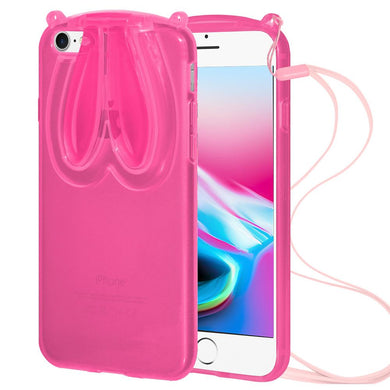 AMZER TPU Case With Rabbit Ears - Pink for iPhone 8