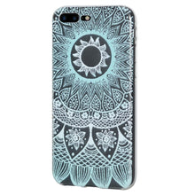 Load image into Gallery viewer, Protective Cover Soft Gel Shockproof TPU Skin Case Mandala Turquoise for iPhone 8 Plus - Clear