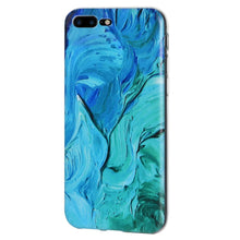 Load image into Gallery viewer, Protective Cover Soft Shockproof TPU Skin Case Abstract Blue Brushstroke for iPhone 8 Plus - Clear