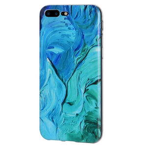 Protective Cover Soft Shockproof TPU Skin Case Abstract Blue Brushstroke for iPhone 8 Plus - Clear