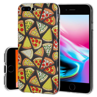 Ultra Thin Protective Cover Soft Gel Shockproof TPU Skin Case Pizza Print for iPhone 8 Plus - Clear