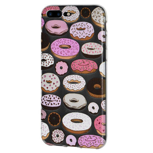 Ultra Thin Protective Cover Soft Gel Shockproof TPU Skin Case Donut Print for iPhone 8 Plus - Clear