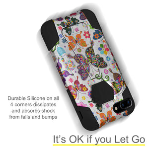 Amzer Dual Layer Designer Hybrid Case with Kickstand - Colorful Butterfly Flower Polka Dot Floral for iPhone 8 Plus