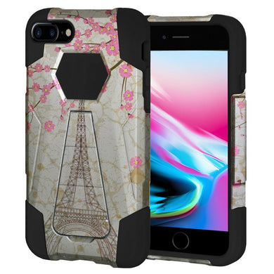 AMZER Dual Layer Designer Hybrid Case with Kickstand - White Vintage Eiffel Tower Paris Sakura Floral for iPhone 8 Plus