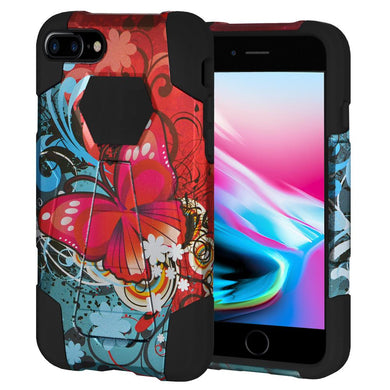 AMZER Dual Layer Designer Hybrid KickStand Case - Butterfly Bliss for iPhone 8 Plus