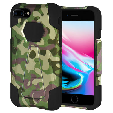 Amzer Dual Layer Designer Hybrid KickStand Case - Camouflage Green for iPhone 8 Plus