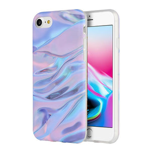 Marble IMD Soft TPU Protective Case - Purple/ Pink for iPhone 8