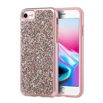 Rhinestone Diamond Platinum Collection Hybrid Bumper Case - Rose Gold for iPhone 8