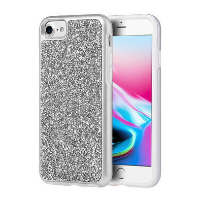 Rhinestone Diamond Platinum Collection Hybrid Bumper Case - Silver for iPhone 8