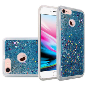 Hybrid Quicksand with Glitter Fused Flexible TPU Case - Light Blue For iPhone 8