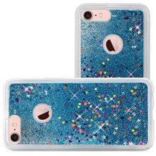 Load image into Gallery viewer, Hybrid Quicksand with Glitter Fused Flexible TPU Case - Light Blue For iPhone 8