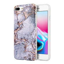 Load image into Gallery viewer, Marble IMD Soft TPU Protective Case - Grey/ Gold for iPhone 8 Plus