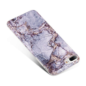Marble IMD Soft TPU Protective Case - Grey/ Gold for iPhone 8 Plus