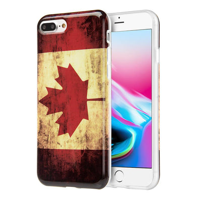 Patriotic Vintage Flag Series IMD Soft TPU Protective Case - Canada for iPhone 8 Plus