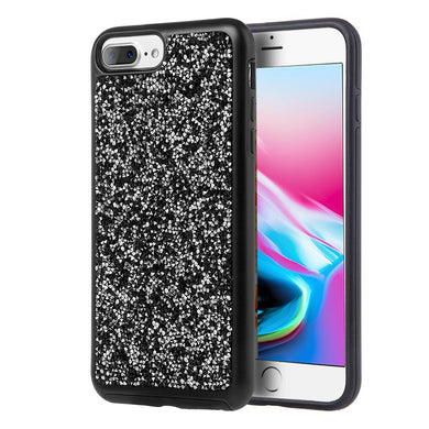Rhinestone Diamond Platinum Collection Hybrid Bumper Case - Black for iPhone 8 Plus