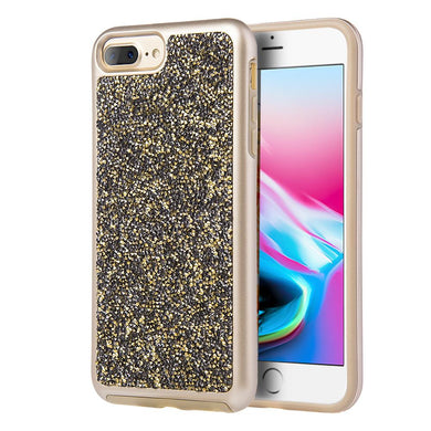 Rhinestone Diamond Platinum Collection Hybrid Bumper Case - Gold/ Grey for iPhone 8 Plus