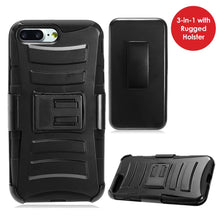 Load image into Gallery viewer, Rugged TUFF Hybrid Armor Hard Defender Case with Holster - Black/ Black for iPhone 8 Plus