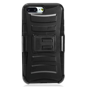 Rugged TUFF Hybrid Armor Hard Defender Case with Holster - Black/ Black for iPhone 8 Plus