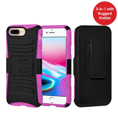 Rugged TUFF Hybrid Armor Hard Defender Case with Holster - Black/ Hot Pink for iPhone 8 Plus