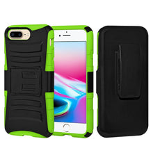 Load image into Gallery viewer, Rugged TUFF Hybrid Armor Hard Defender Case with Holster - Black/ Neon Green for iPhone 8 Plus