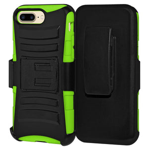 Rugged TUFF Hybrid Armor Hard Defender Case with Holster - Black/ Neon Green for iPhone 8 Plus