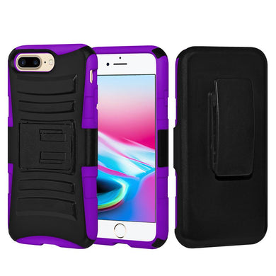 Rugged TUFF Hybrid Armor Hard Defender Case with Holster - Black/ Dark Purple for iPhone 8 Plus