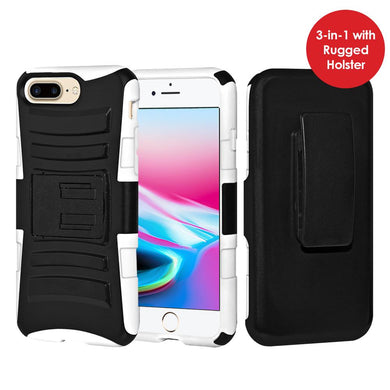 Rugged TUFF Hybrid Armor Hard Defender Case with Holster - Black/ White for iPhone 8 Plus