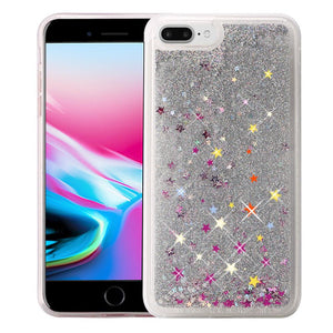 Hybrid Quicksand with Glitter Fused Flexible TPU Case - Silver for iPhone 8 Plus