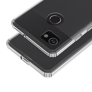 Shockproof Fusion Candy TPU Case with Clear Acrylic Back - Black for Google Pixel 2 XL