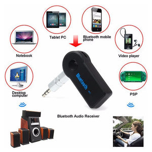 Universal 3.5mm Car A2DP Wireless Bluetooth AUX Audio Adapter Handsfree With Mic - Black