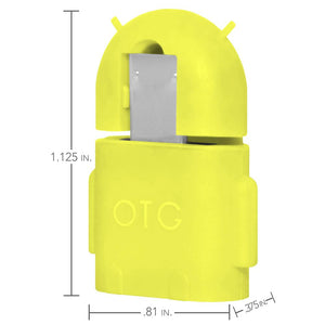 Android Robot Shape Micro USB OTG Adapter - Yellow
