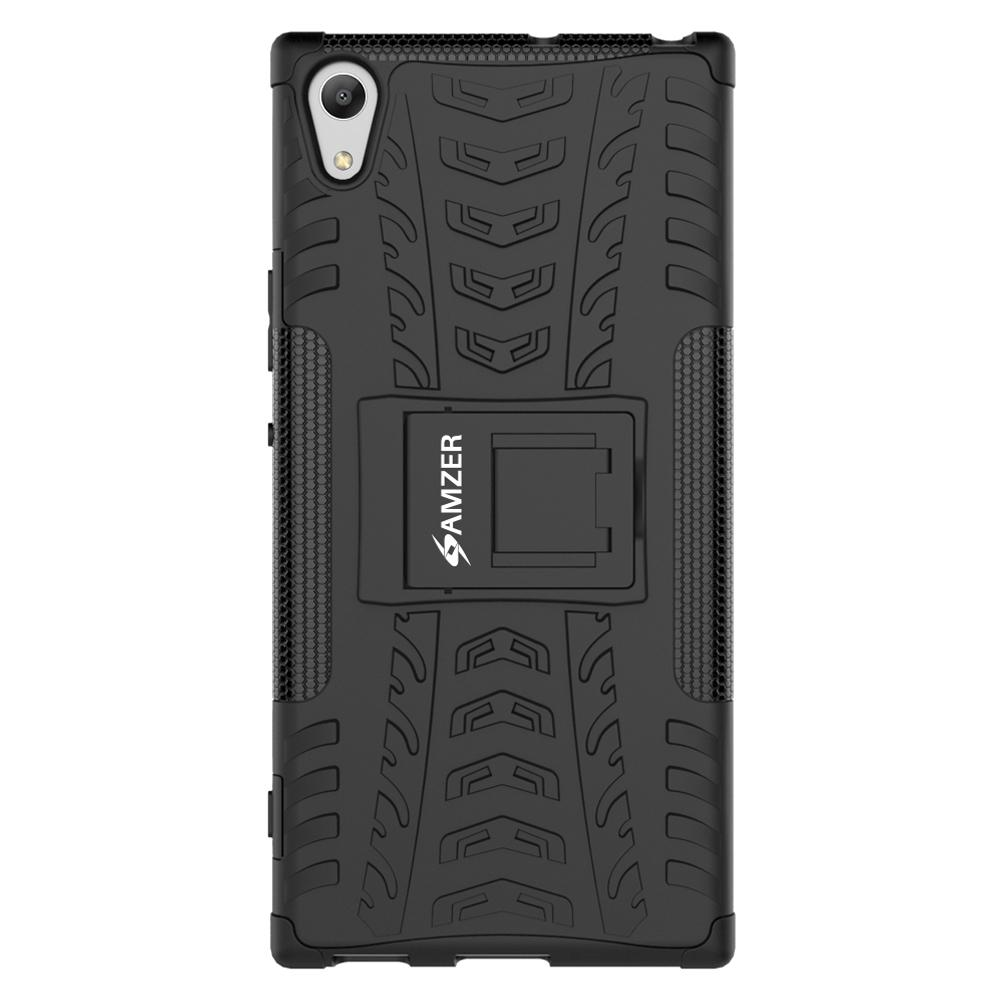 AMZER Shockproof Warrior Hybrid Case for Sony Xperia XA1 Ultra - Black/Black