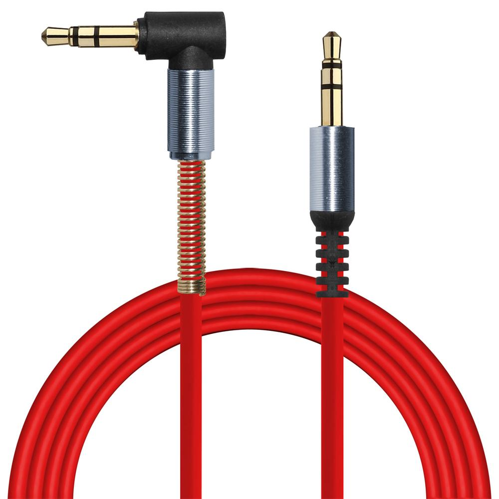 3.5mm Right Angle Stereo Auxiliary Cable 3 ft. - Red