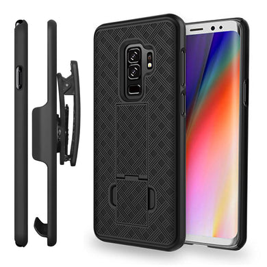 AMZER Shellster Hard Case with Belt Clip Holster for Samsung Galaxy S9 - Black