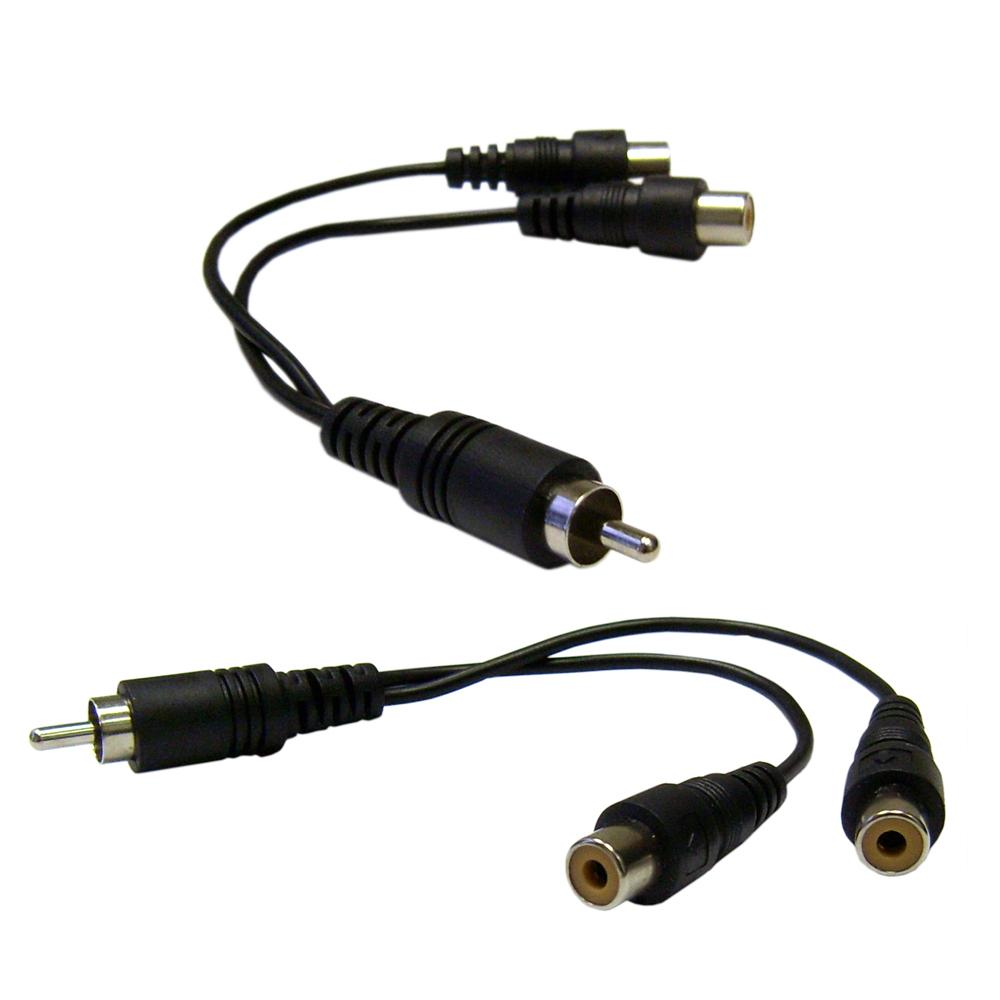 Amzer RCA Male to Dual RCA Female Splitter/Adapter Cable - Black