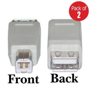 USB Type A Female to USB Type B Male Adapter - Gray Pack of 2