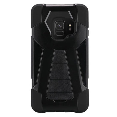AMZER Dual Layer Hybrid KickStand Case - Black/ Black for Samsung Galaxy S9