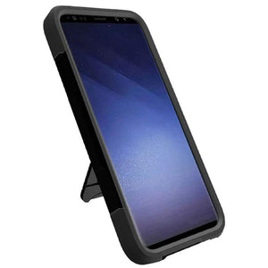 AMZER Dual Layer Hybrid KickStand Case - Black/ Black for Samsung Galaxy S9 Plus