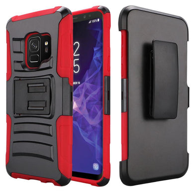 Rugged TUFF Hybrid Armor Hard Defender Case with Holster - Black/ Red for Samsung Galaxy S9