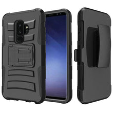 Load image into Gallery viewer, Rugged TUFF Hybrid Armor Hard Defender Case With Holster for Samsung Galaxy S9 Plus - Black/ Black