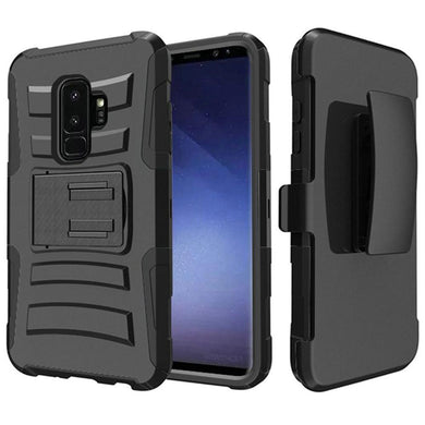 Rugged TUFF Hybrid Armor Hard Defender Case With Holster for Samsung Galaxy S9 Plus - Black/ Black