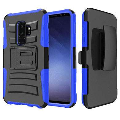 Rugged TUFF Hybrid Armor Hard Defender Case with Holster - Black/ Blue for Samsung Galaxy S9 Plus