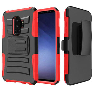Rugged TUFF Hybrid Armor Hard Defender Case with Holster - Black/ Red for Samsung Galaxy S9 Plus