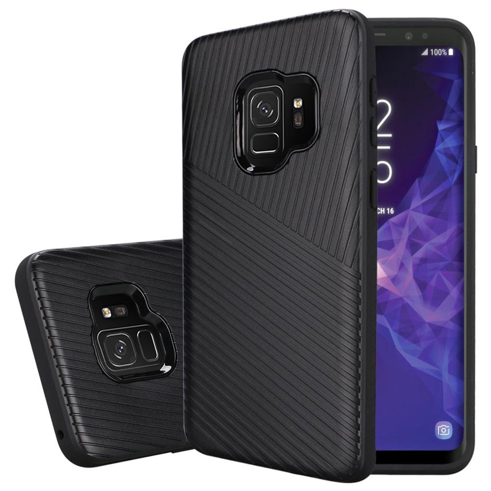 Textured Embossed Lines Dual Layer Hybrid TPU Case - Black for Samsung Galaxy S9