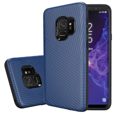 Textured Embossed Lines Dual Layer Hybrid TPU Case - Blue for Samsung Galaxy S9