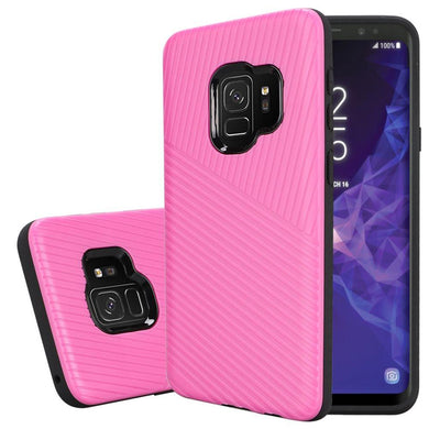 Textured Embossed Lines Dual Layer Hybrid TPU Case - Pink for Samsung Galaxy S9