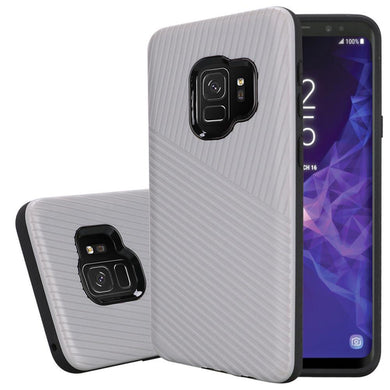 Textured Embossed Lines Dual Layer Hybrid TPU Case - Silver for Samsung Galaxy S9