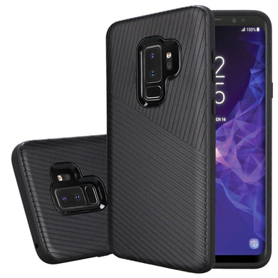 Textured Embossed Lines Dual Layer Hybrid TPU Case - Black for Samsung Galaxy S9 Plus