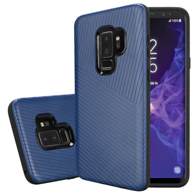 Textured Embossed Lines Dual Layer Hybrid TPU Case - Blue for Samsung Galaxy S9 Plus