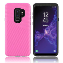 Load image into Gallery viewer, Textured Embossed Lines Dual Layer Hybrid TPU Case - Pink for Samsung Galaxy S9 Plus